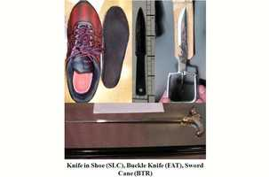 The TSA also finds many knives, such as the ones shown above. One was found hidden in the sole of a shoe at Salt Lake City. Another was found hidden in a belt buckle at Fresno. And another sword cane was found at Baton Rouge. All of the items were found in late Nov. 2012.