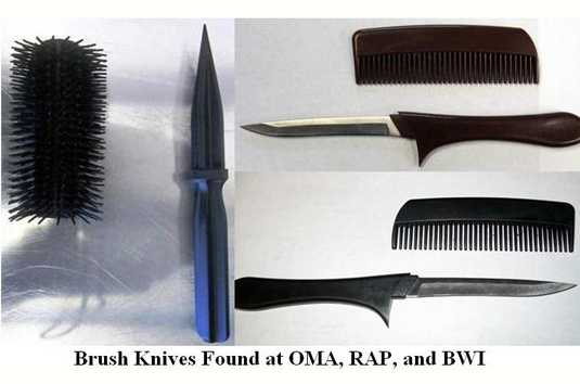 In July 2012, these daggers were found concealed in a brush and combs. The brush dagger was found at Omaha, while the comb daggers were found at Rapid City and Baltimore.