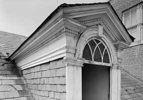 Here's a look at one of the rear dormers with decorative moldings in 1965.