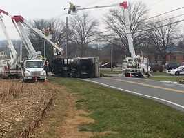 A dump truck full of dirt went off Letort Road in Manor Township, Lancaster County, on Friday morning.