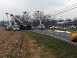 The Millersville Borough truck flipped on its side and struck a utility pole about 9 a.m.