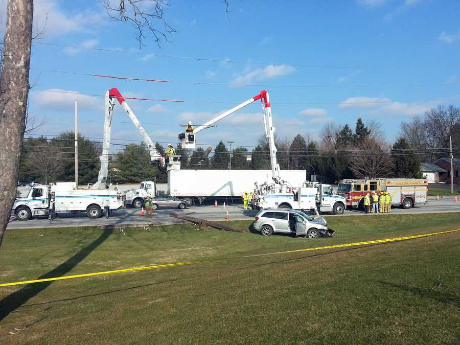 A car went off Route 30 eastbound in East Lampeter Township, Lancaster County, on Friday afternoon, and struck a utility pole, according to police.