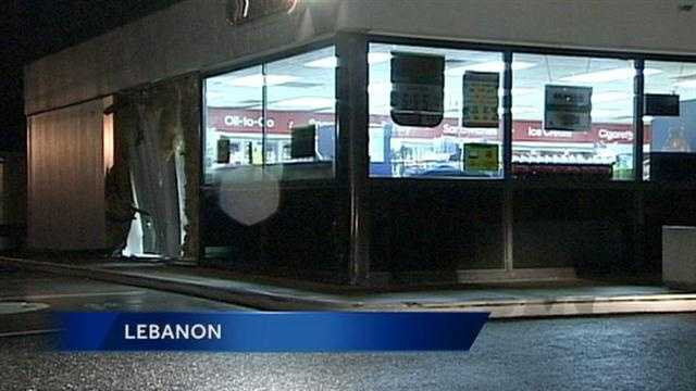 Lebanon police are investigating a crash that sent a car through the Mobil Mini-Mart in the 400 block of South Ninth Street.