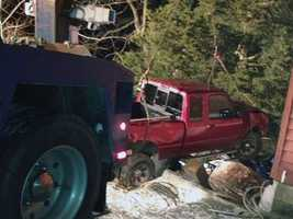 A pickup truck crashed into an Elizabethtown home Monday night.