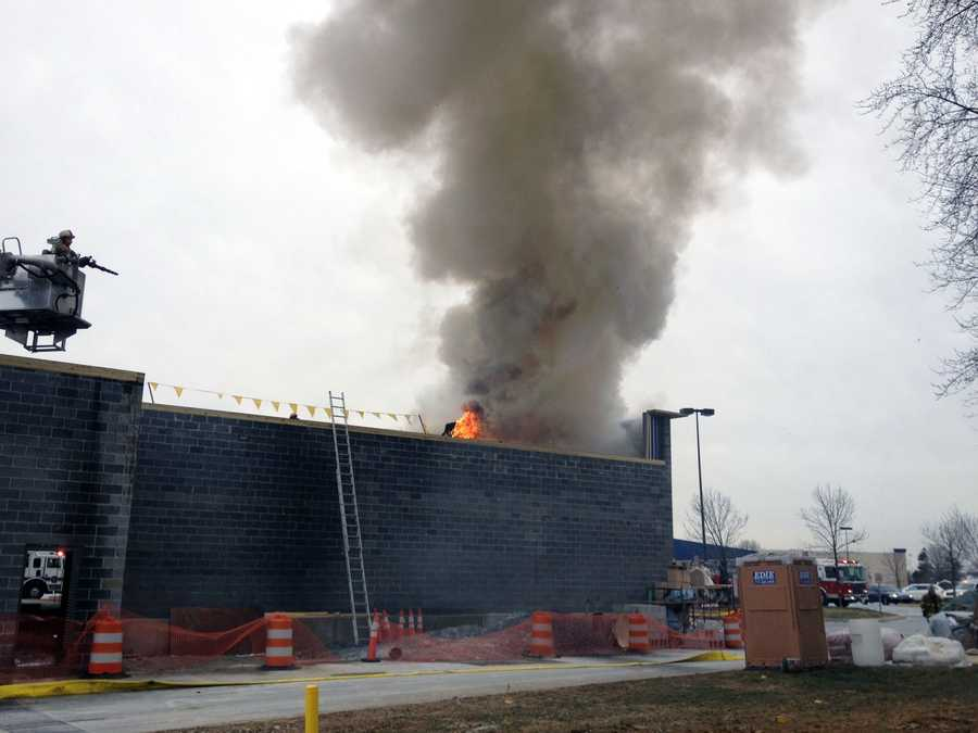 A building under construction at the York Town Center in Springettsbury Township caught fire Friday morning.