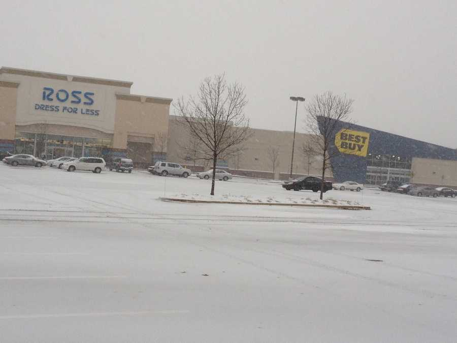Snow piles up in the Best Buy parking lot along Route 30 in York County.