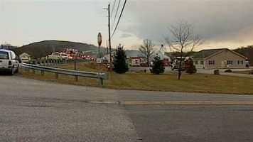 The two-alarm fire started around 3:30 p.m. in the first block of Blair Mountain Road at R L Livingston Excavating and Paving. Multiple explosions were reported, according to York County 911.