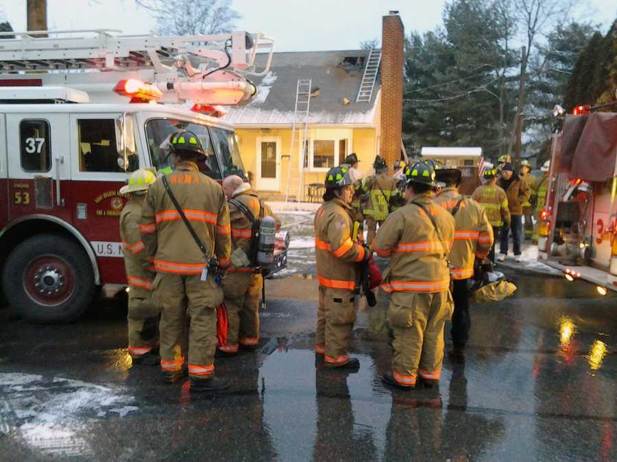 Crews battled a house fire Tuesday morning in Lower Allen Township, Cumberland County.