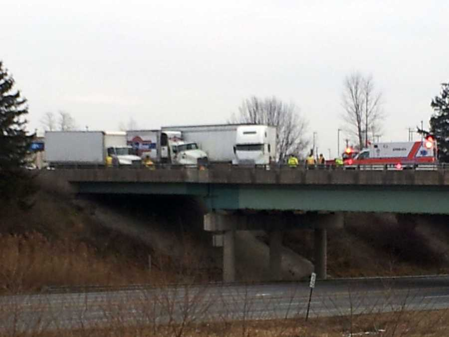 About 9:30 a.m. Thursday, a tractor-trailer rear-ended another vehicle, causing a chain reaction crash. One person suffered minor injuries.Police said traffic was slow due to the first crash.