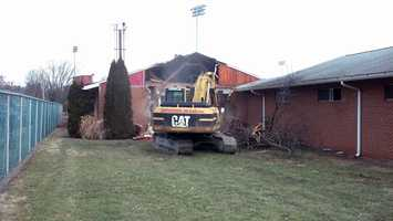 """The old locker rooms had been home to """"Red Devil"""" sports teams since the 1960s."""