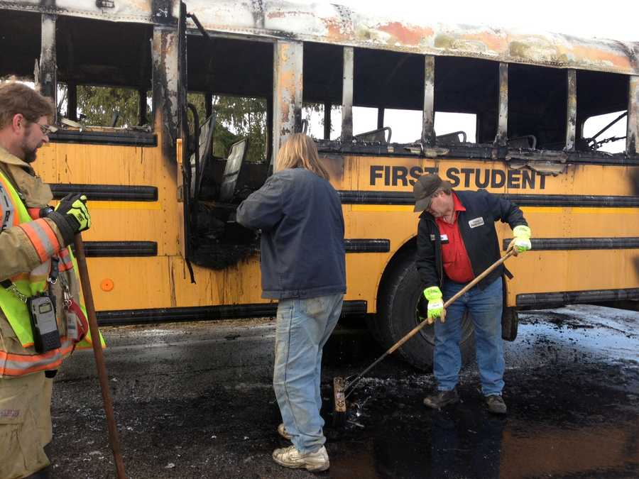 A school bus caught fire Wednesday morning near Jefferson, York County.