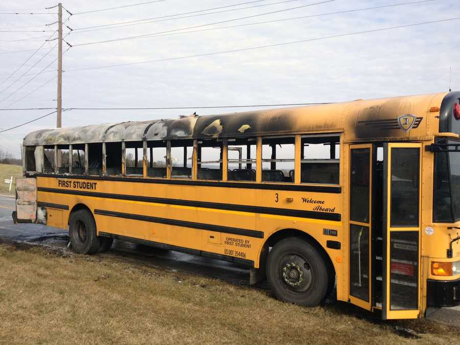 The bus burst into flames along Route 516 in Codorus Township after the Friendship Elementary School students evacuated the bus.