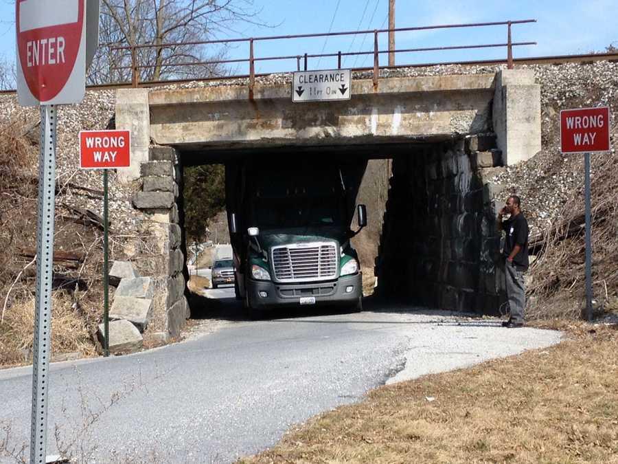 A truck got stuck under a railroad bridge Monday in Manchester Township, York County.