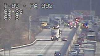 This is a still image of the crash scene from a PennDOT traffic camera.