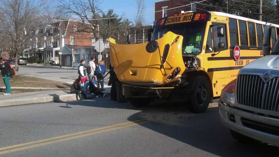 The students were heading home after school when the crash happened. Some students complained of aches and pains, according to police.