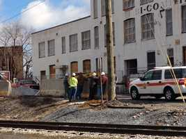 Crews renovating the former Bi-Comping building in York Wednesday afternoon struck a 3-inch gas line.
