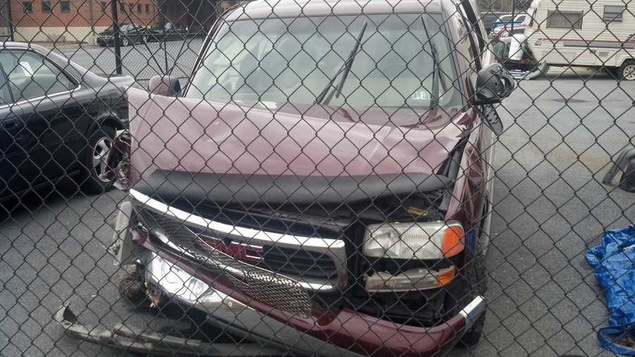This is the SUV that the suspect is accused of crashing.