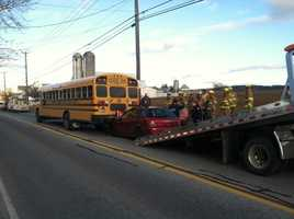 A car rear-ended a school bus Monday afternoon in Lancaster County.