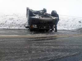 An SUV also flipped going down a hill on Village Road (Route 741) in West Lampeter Township, Lancaster County.