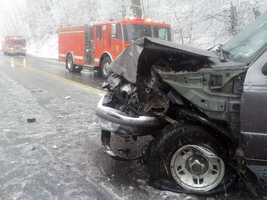 A pickup truck traveling southbound crossed the center line and hit an SUV.
