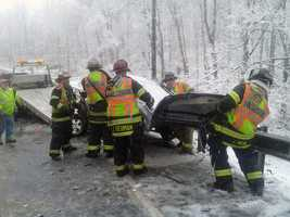 Two people from the SUV were taken to a hospital. The pickup truck driver was not hurt.