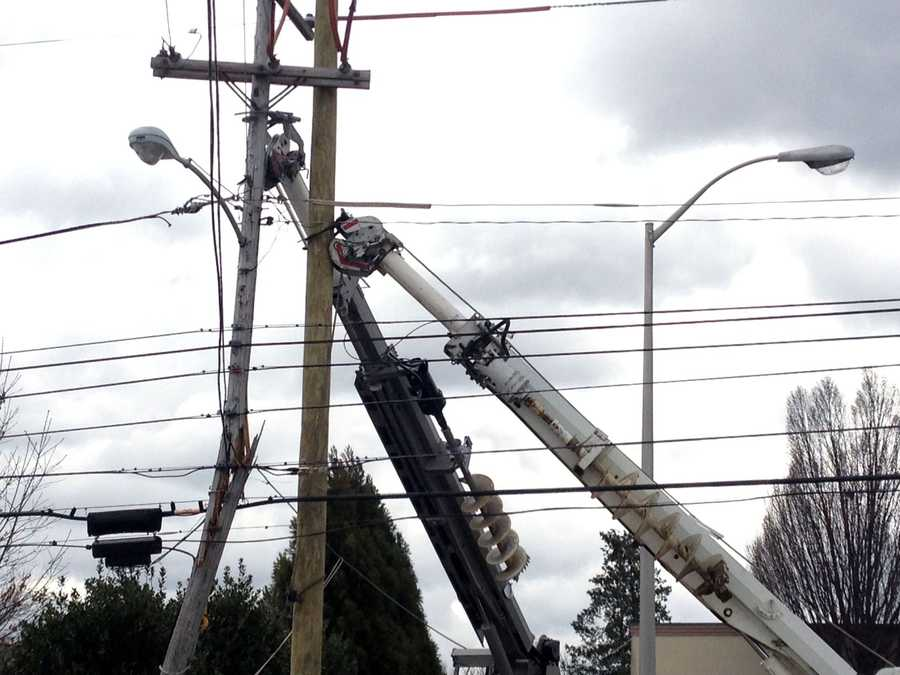 A truck struck a utility pole early Thursday in Springettsbury Township, York County.