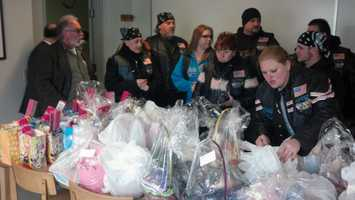 They took 79 Easter baskets of toys and candy for the kids and their parents at the shelter.