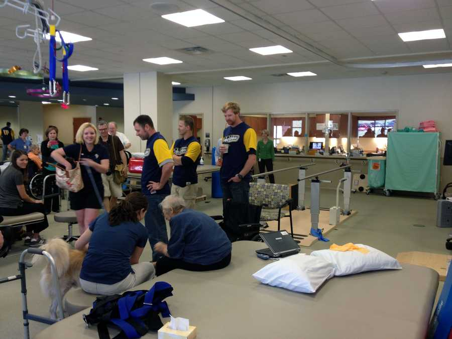 York Revolution players visited patients at the Wellspan Surgery and Rehabilitation Hospital on Tuesday morning.