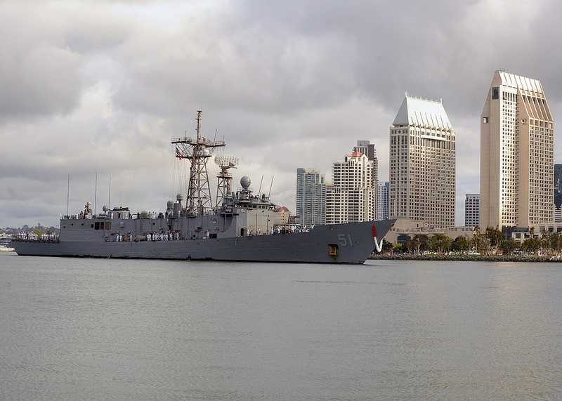 SAN DIEGO (April 5, 2013) The Oliver Hazard Perry-class guided-missile frigate USS Gary (FFG 51) returns to homeport in San Diego after completing an independent six-month deployment to the U.S. 4th Fleet area of responsibility.
