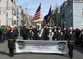 BOSTON (March 17, 2013) Sailors assigned to the USS Constitution parade the colors during the St. Patrick's Day parade in South Boston. Tens of thousands of spectators observed the three-mile parade route to honor the tradition of Boston's first Irish celebration in 1737.