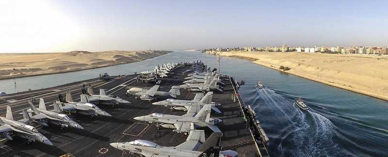 SUEZ CANAL (March 16, 2013) The aircraft carrier USS Dwight D. Eisenhower (CVN 69) transits the Suez Canal.