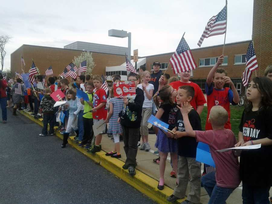 Members of the 333rd Engineer Company left the reserve center in Shillington, Berks County.