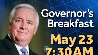 Please join The Harrisburg Regional Chamber and CREDC for the Governor's Breakfast on Thursday, May 23, 7:30 a.m. at the Radisson Hotel Harrisburg.  News 8's Jere Gish is the emcee as Keynote speaker, Governor Tom Corbett, speaks on his plan for 2013, as well as offer insight on the future of our region.