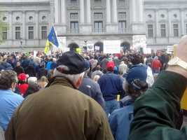 Gun rights activists assembled on the steps of the Pennsylvania Capitol Tuesday morning for a rally to show their support for the right to keep and bear arms.