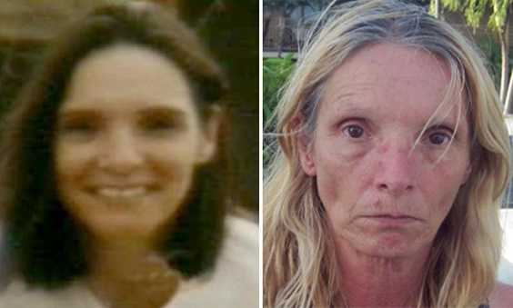 The photo on the left shows Brenda Heist before her 2002 disappearance. The one on the right shows her last week when she turned up in Florida.