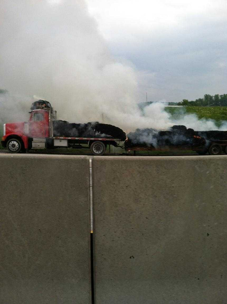 A hay truck fire caused slowdowns on the Pa. Turnpike Thursday evening between Harrisburg and Carlisle.