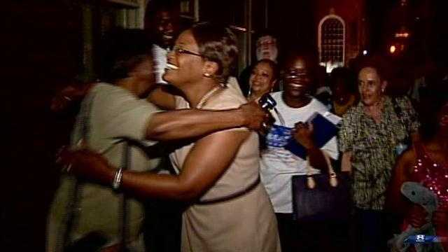 Bracey embraces supporters on the street in York.