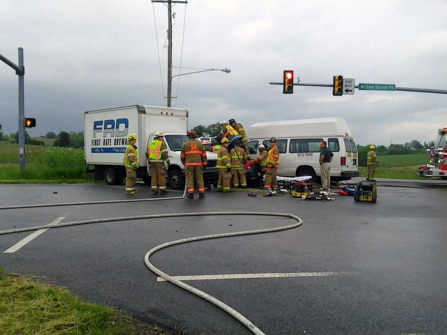 Three vehicles were involved in a Friday morning crash in Pequea Township, Lancaster County.