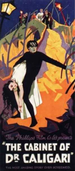 "If you're a fan of surreal and odd movies, you can give some thanks to The Cabinet of Dr. Caligari (1919, Robert Wiene, Germany). ""This strange and strange-looking tale of a madman who controls a sleepwalking murderer looked like a fevered dream on screen. Its shadows and angles mocked the cinema's privileged 'realism,'"" Hagopian says."