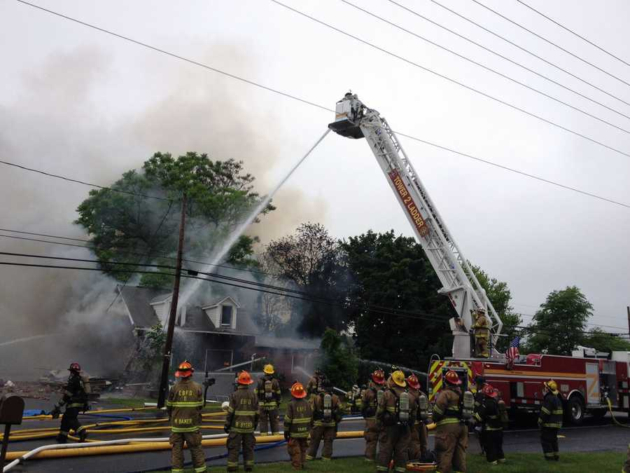 Firefighters battled a blaze Friday morning in Dover Township, York County, after a house exploded.