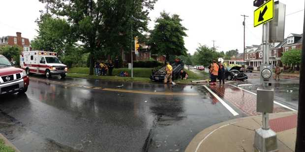 Two vehicles were involved in a crash in Columbia, Lancaster County, Friday morning.