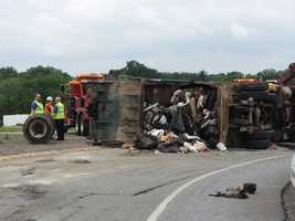 A toppled garbage truck shut down the northbound ramp onto I-83 at Mount Rose Avenue in York early Tuesday afternoon.