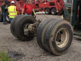 State police said the truck lost its rear axle before turning over. It's not yet known why the axle came off the truck.