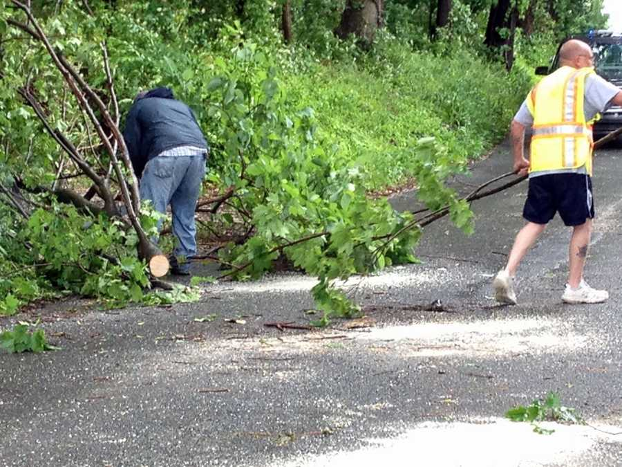 Downed branches are cleaned up along Blacksmith Avenue in Windsor Borough, York County.