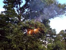 Utility lines on fire along Hunting Park Court in Springettsbury Township, York County.