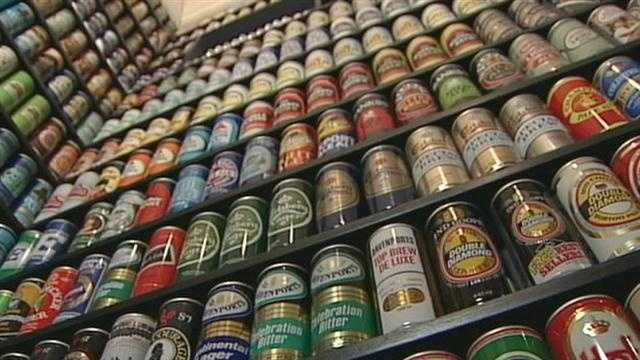 Virtually every wall in the 5-bedroom home is filled with cans. The collection is so big, that in some cases Lebo had to build sliding walls that pull back to reveal – more beer cans.