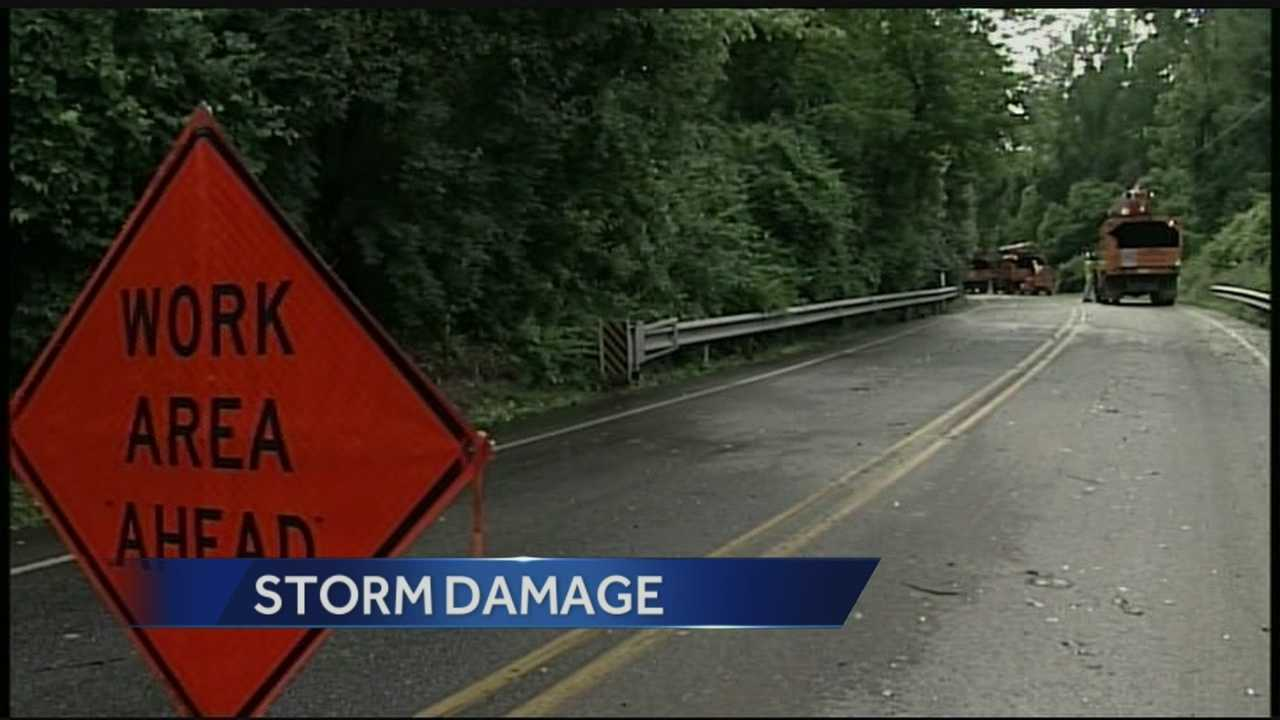 A line of strong storms caused damage in southern Lancaster County on Monday.
