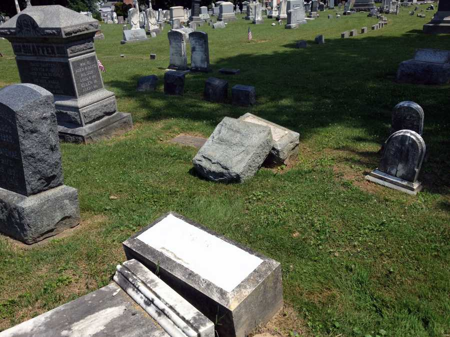 About two dozen gravestones at Mount Olivet Cemetery in Penn Township, York County, have been vandalized.