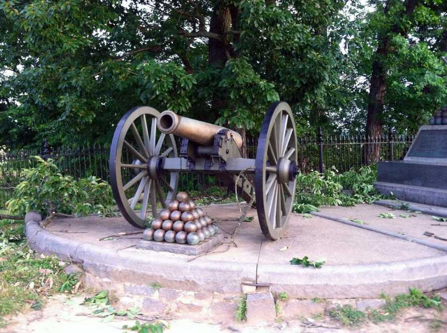 Storms on Tuesday downed trees and damaged monuments on the Gettysburg Battlefield.