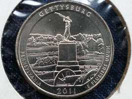The monument is the one featured on the 2011 Gettysburg commemorative quarter.